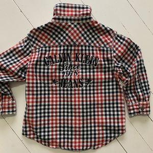 Calvin Klein Button Roll-tab Sleeve Shirt Sz. 3T